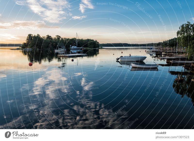 Archipelago on the Swedish coast Relaxation Vacation & Travel Tourism Island Nature Landscape Clouds Tree Coast Baltic Sea Sailing ship Watercraft Blue Green