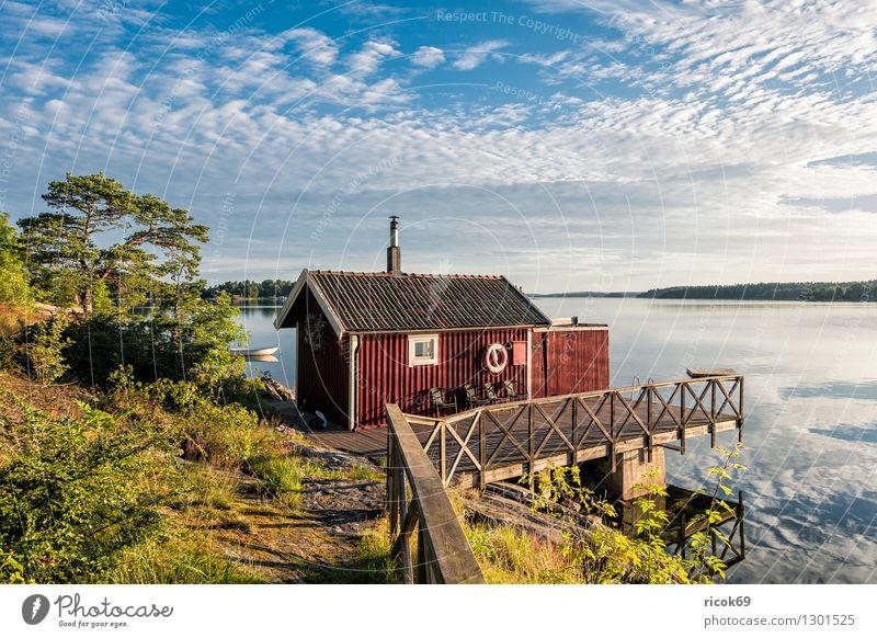 Nature Vacation & Travel Blue Green Tree Relaxation Landscape Clouds Coast Tourism Island Baltic Sea Footbridge Jetty Scandinavia Wooden house