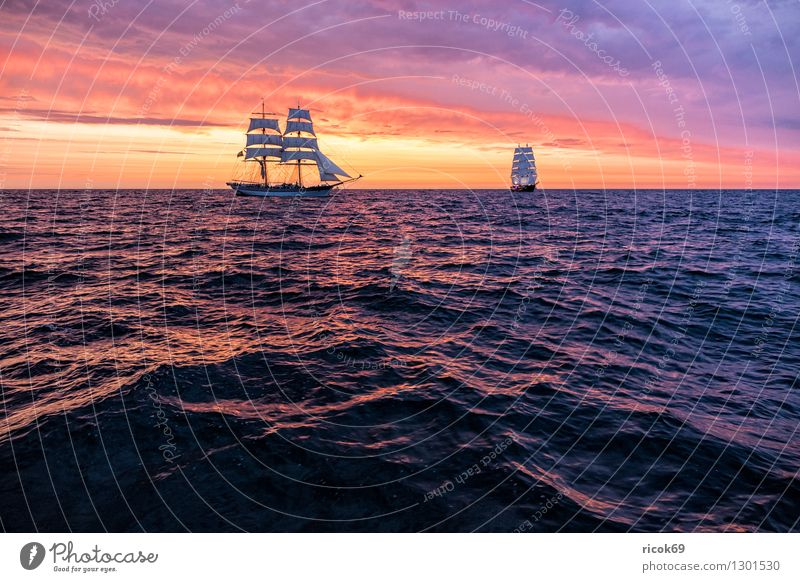 Nature Vacation & Travel Water Relaxation Red Clouds Yellow Tourism Idyll Romance Baltic Sea Tradition Navigation Sailing Mecklenburg-Western Pomerania