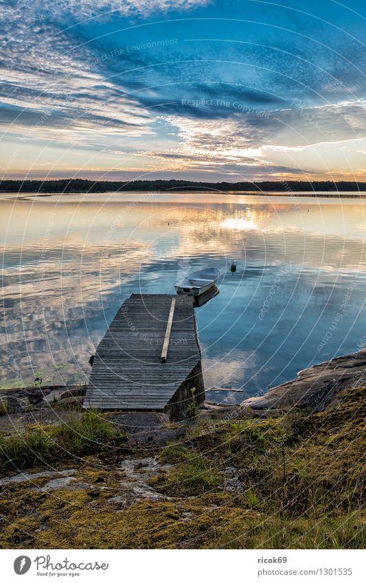 Archipelago on the Swedish coast Relaxation Vacation & Travel Tourism Island Nature Landscape Clouds Tree Coast Baltic Sea Blue Skerry Swede Lidingö Footbridge