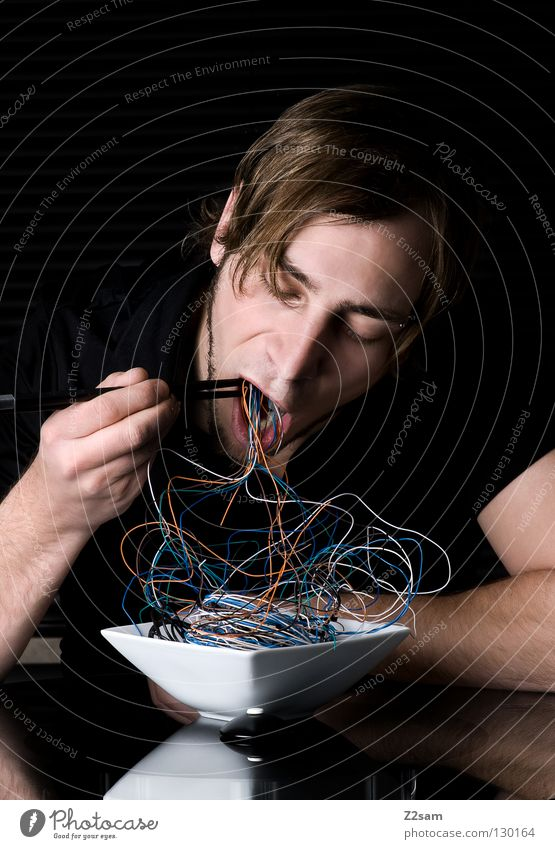 Human being Man Black Eating Style Gray Head Flat (apartment) Masculine Glass Nutrition Table To enjoy Future Mouth Cable
