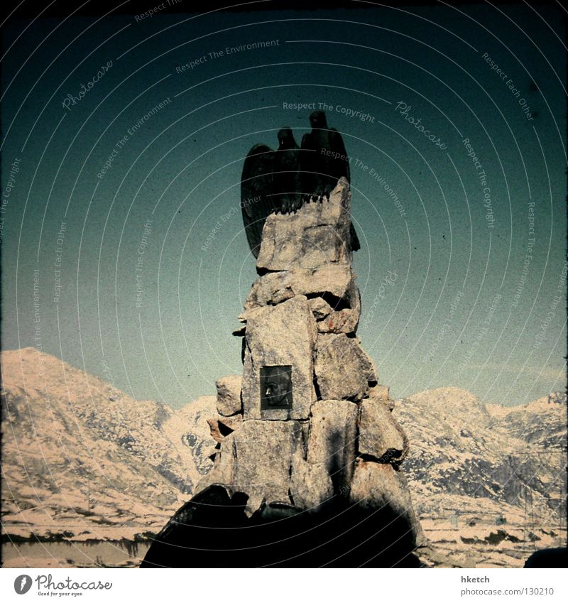 Sky Cold Snow Mountain Stone Alps Monument Landmark Eagle