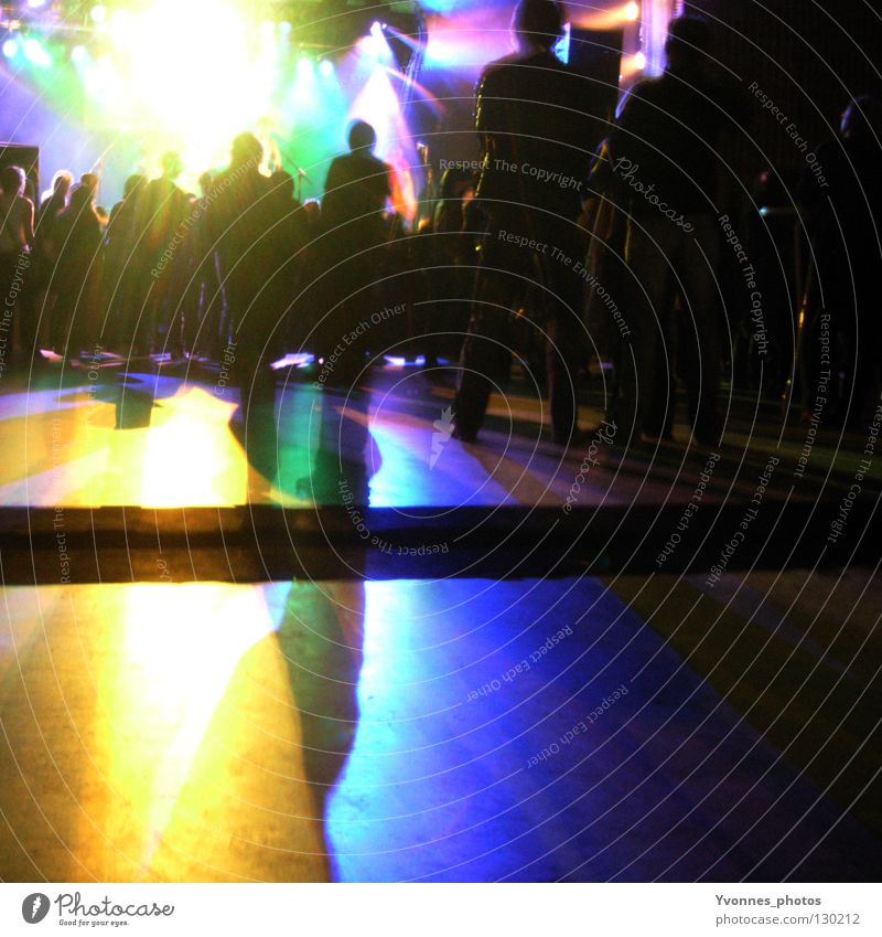 Light Explosion Colour photo Multicoloured Copy Space bottom Night Shadow Silhouette Joy Night life Entertainment Party Event Music Club Disco Disc jockey