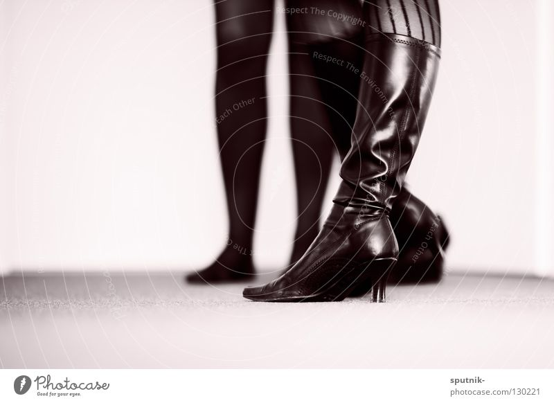 fade to black Boots Leather Woman Black White Tights Dominatrix Power Desire Lust Black & white photo Beautiful High heels Landing fetish bdsm Might
