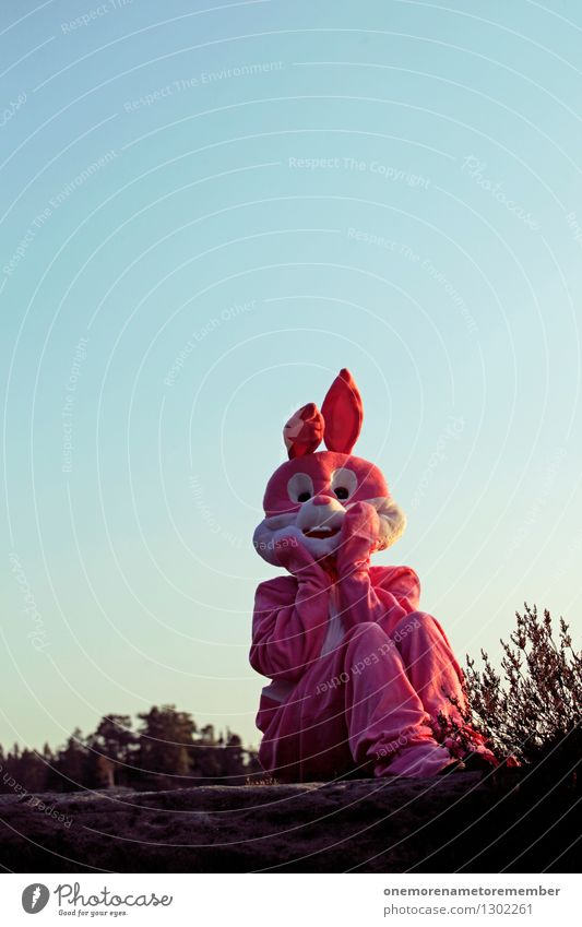 NA SOWAS! Art Work of art Esthetic Hare & Rabbit & Bunny Hare ears Hare hunting Roasted hare Buck teeth Pink Carnival costume Disguised Blue sky Horror Amazed