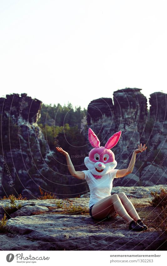 Tatatataaa Art Work of art Adventure Esthetic Hare & Rabbit & Bunny Hare ears Hare hunting Roasted hare Buck teeth Feminine Pink Mask Rock Saxon Switzerland