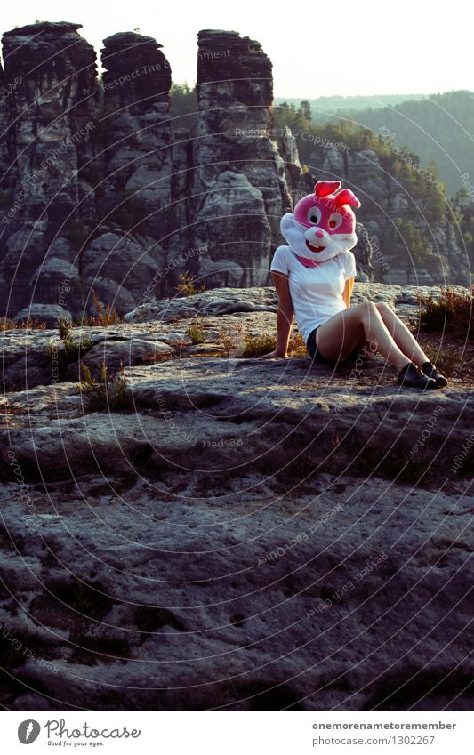 Easter in nature II Art Esthetic Model Feminine Eroticism Nature Natural phenomenon Nature reserve Love of nature Absurdity Pink Costume Disguised Sit