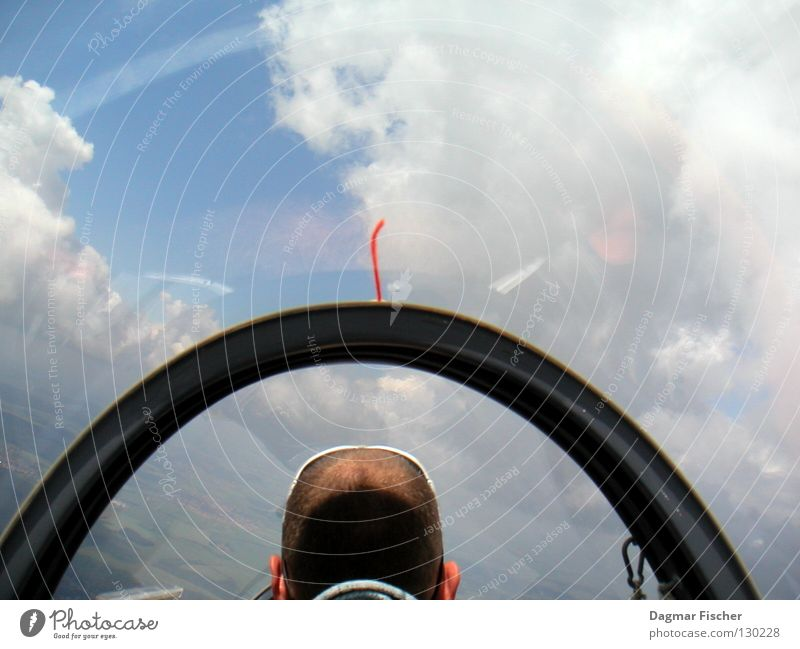 Sky Man Blue Sun Clouds Adults Freedom Gray Hair and hairstyles Air Horizon Weather Wind Fear Leisure and hobbies Flying