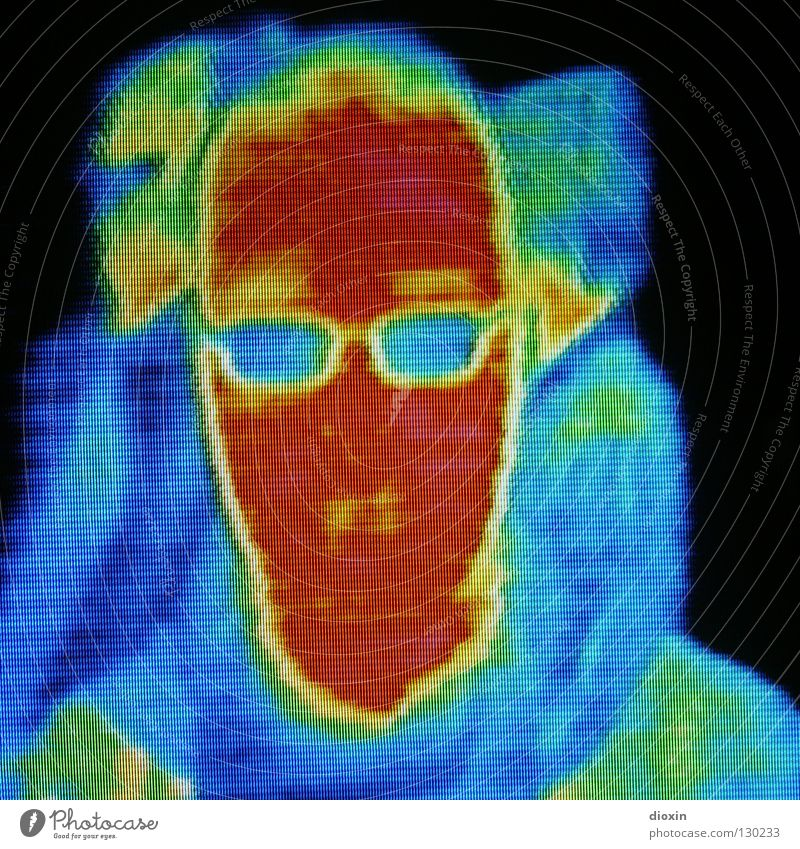Human being Man Colour Cold Warmth Head Eyeglasses Physics Science & Research Insulation Self portrait Degrees Celsius Symptom Temperature Infrared Fever