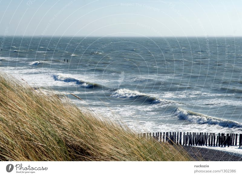 City Blue Water Ocean Landscape Beach Coast Waves Protection Village North Sea Blue sky Behind Netherlands Dike Impression