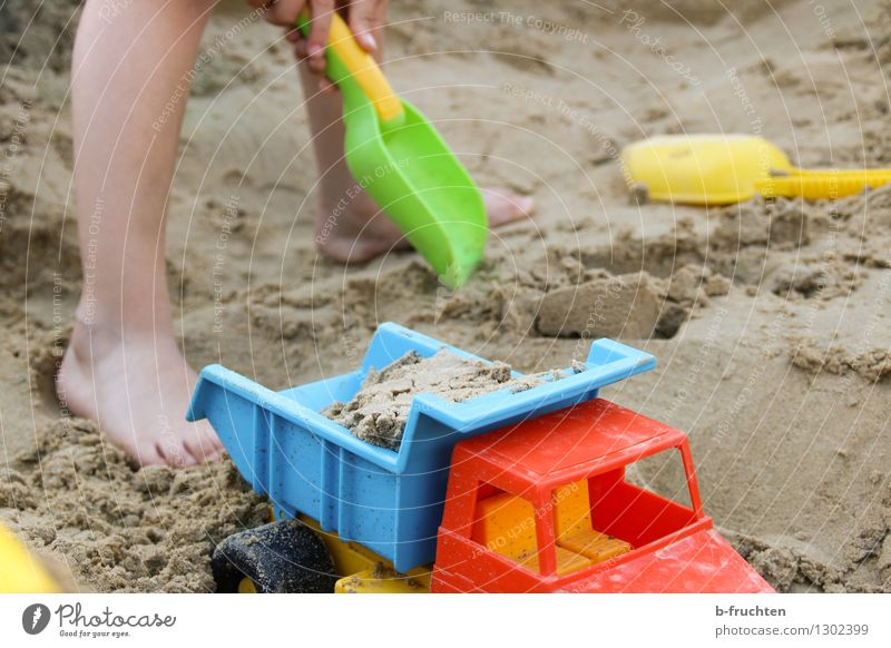 Sandbox Playing Beach Child Legs 3 - 8 years Infancy Toys Leisure and hobbies Joy Sandpit Shovel dig Truck Colour photo Exterior shot