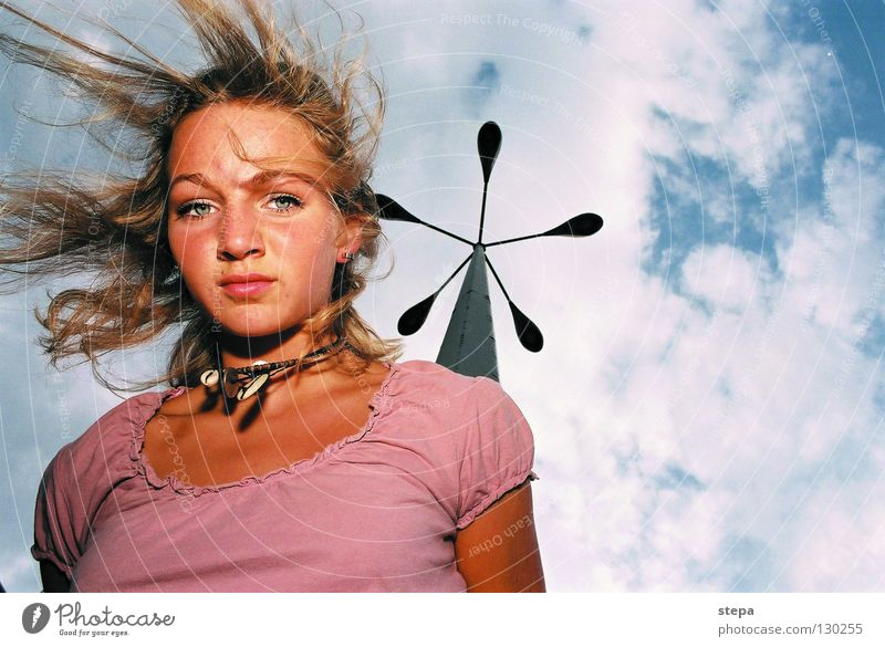 Woman Sky Blue White Joy Clouds Face Eyes Hair and hairstyles Lamp Blonde Pink Flying Mouth Nose Industry