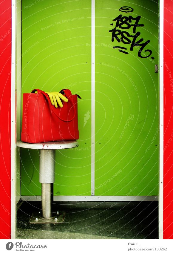 red-green Handbag Gloves Leather Self portrait Conceited Stool Wall (building) Typography Flashy Gaudy Extra Nerviness Clothing Joy self awesome narcissistic