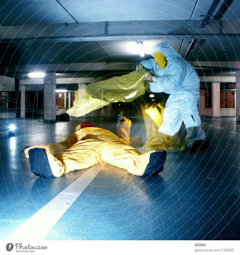 Yellow Gray Jump Flying Walking Speed Aviation Help Cloth Asphalt Mask Suit Blanket Surrealism Parking lot Garage