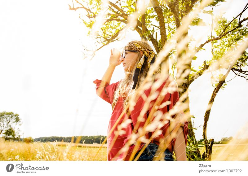Good prospects Lifestyle Beautiful Feminine Young woman Youth (Young adults) 18 - 30 years Adults Nature Landscape Sun Summer Beautiful weather Tree Grass