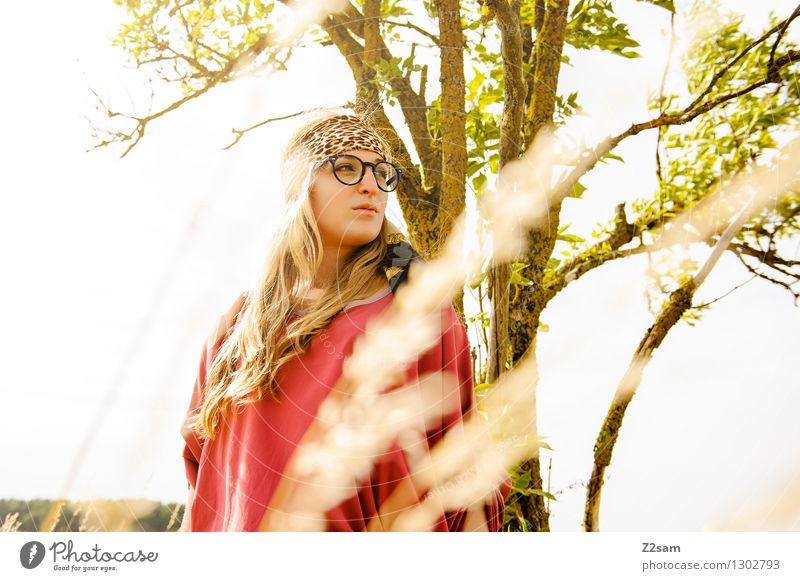 in search of shadows Feminine Young woman Youth (Young adults) 1 Human being 18 - 30 years Adults Nature Summer Beautiful weather Tree Fashion Eyeglasses