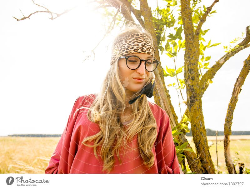 Hey, hey, hippie! Style Feminine Young woman Youth (Young adults) 1 Human being 18 - 30 years Adults Nature Horizon Beautiful weather Tree Fashion Eyeglasses
