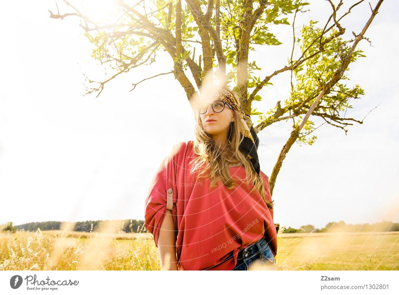 Nature Youth (Young adults) Beautiful Summer Young woman Sun Tree Landscape 18 - 30 years Adults Meadow Grass Feminine Style Freedom Lifestyle