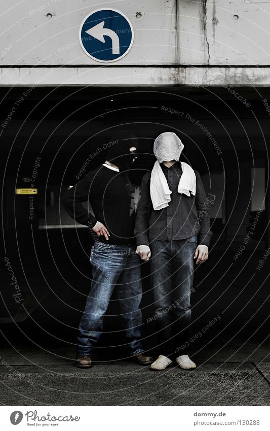 B&T   03 Man Fellow Stand Pants Sweater Shirt Packaged Turban White Black Sneakers Parking Parking garage Parking lot Parking level Dark Left Right Posture