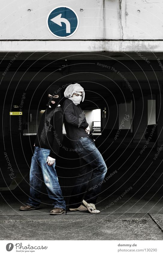 B&T   01 Man Fellow Stand Pants Sweater Shirt Packaged Turban White Black Sneakers Parking Parking garage Parking lot Parking level Dark Left Right Posture