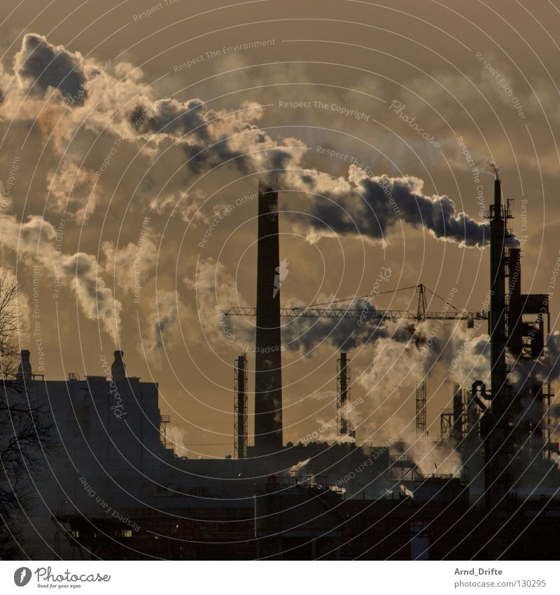 chimneys Refinery Refrigeration Environment Environmental pollution Gasoline Exhaust gas Industrialization Burn The Ruhr Environmental protection Sunset