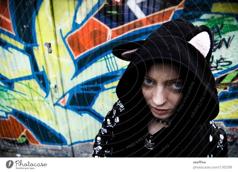 Woman Cat Youth (Young adults) City Beautiful Animal Feminine Graffiti Dangerous Sweet Jeans Jacket Backyard Self-confident Garage Pride
