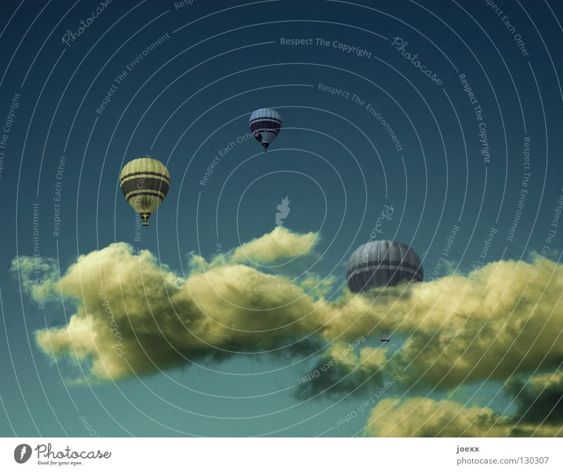 up and away Calm Trip Freedom Summer Air Sky Clouds Beautiful weather Warmth Hot Air Balloon Driving Flying Infinity Tall Above Blue Yellow Trust Dream