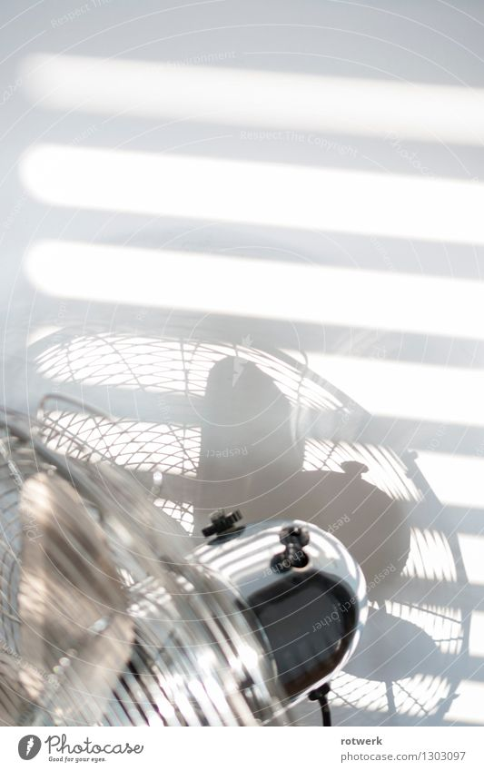 light wind Fan fresh breeze Hot Bright Round Silver White Cool (slang) Interior shot Detail Copy Space top Morning Light Shadow Contrast