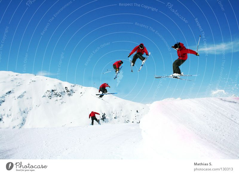 Sun Clouds Joy Winter Mountain Snow Style Sports Flying Jump Leisure and hobbies Air Tall Alps Skiing Skis