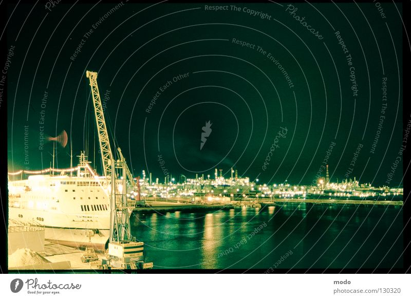 silent sea Italy Night Genua Long exposure Ferry Seaman Captain Light Ocean Watercraft Crane Reflection genova Harbour Lighting