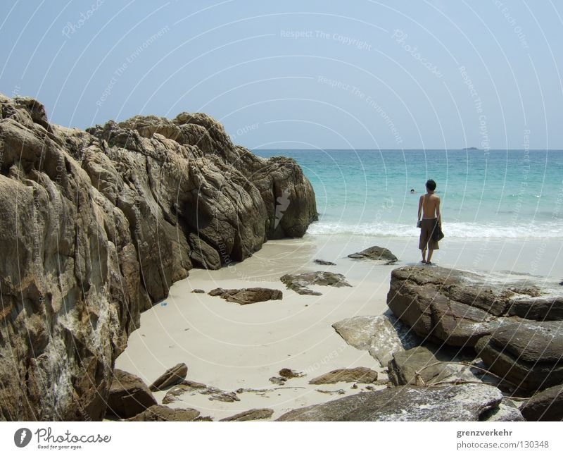 Water Ocean Summer Beach Vacation & Travel Loneliness Far-off places Think Warmth Coast Rock Island Swimming & Bathing
