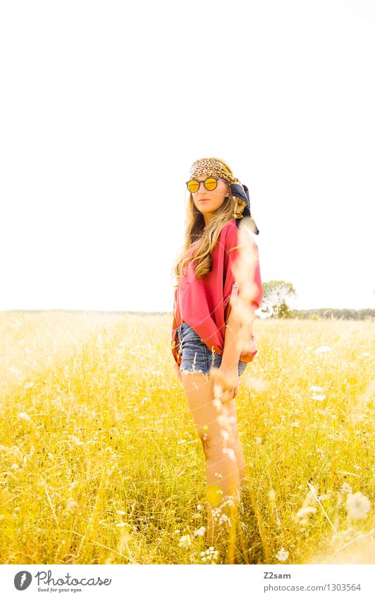 Human being Nature Youth (Young adults) Beautiful Summer Young woman Sun 18 - 30 years Adults Yellow Warmth Life Meadow Grass Natural Feminine