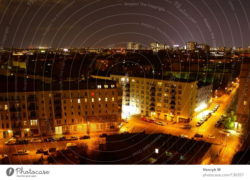City House (Residential Structure) Street Berlin Car Lighting Night