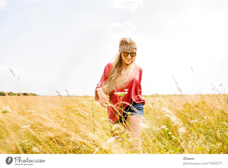 Nature Vacation & Travel Youth (Young adults) Beautiful Summer Young woman Landscape 18 - 30 years Adults Love Meadow Grass Natural Feminine Style Happy