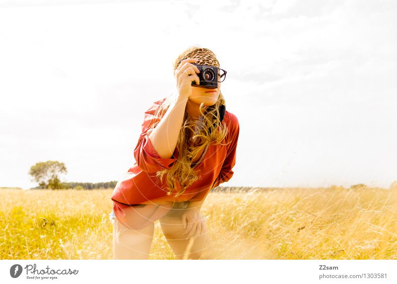 On Safari Lifestyle Style Beautiful Take a photo Summer Young woman Youth (Young adults) 18 - 30 years Adults Nature Landscape Beautiful weather Plant Grass