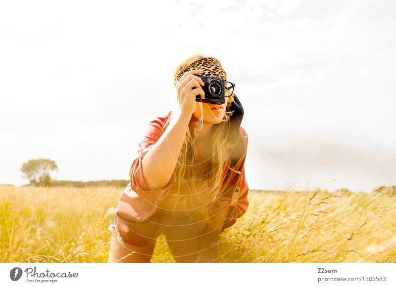Snap Zebras Leisure and hobbies Safari Camera Feminine Young woman Youth (Young adults) 1 Human being 18 - 30 years Adults Nature Sun Beautiful weather Meadow