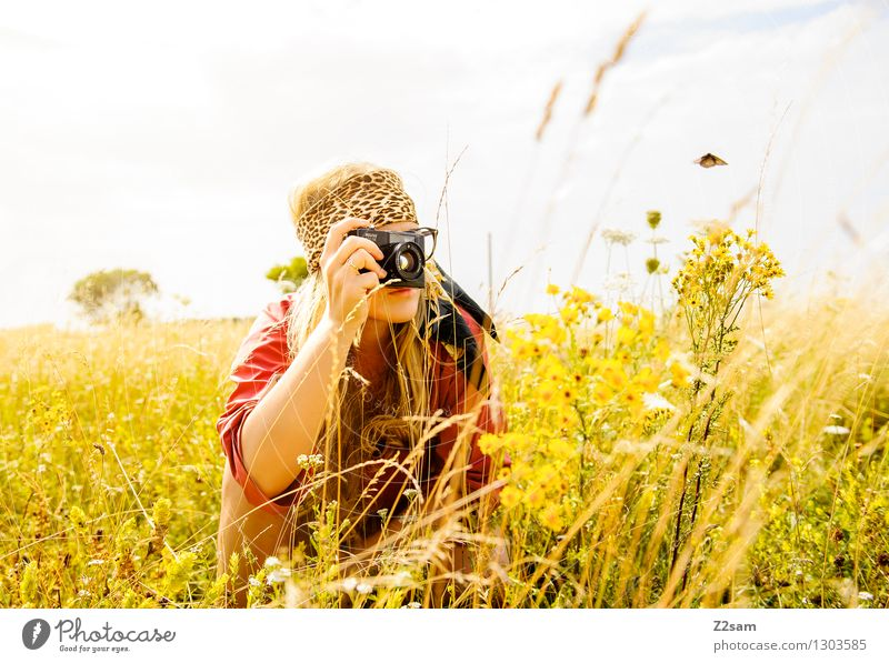 Lena researches Lifestyle Elegant Style Take a photo Feminine Young woman Youth (Young adults) 18 - 30 years Adults Nature Landscape Sun Summer