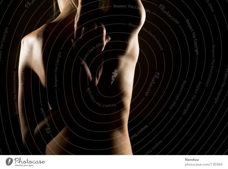 point of contact Spinal column Low-key Dark Black Light Side Soft Delicate Naked Ribs Mole Health care Upper body Torso Distend Hand Fitness Woman Healthy Back