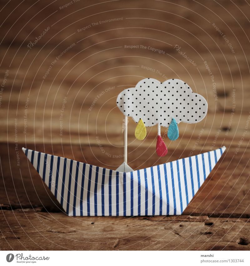 rainy weather Environment Clouds Rain Thunder and lightning Sign Emotions Moody Watercraft Paper boat Raincloud Self-made Handicraft Wooden table