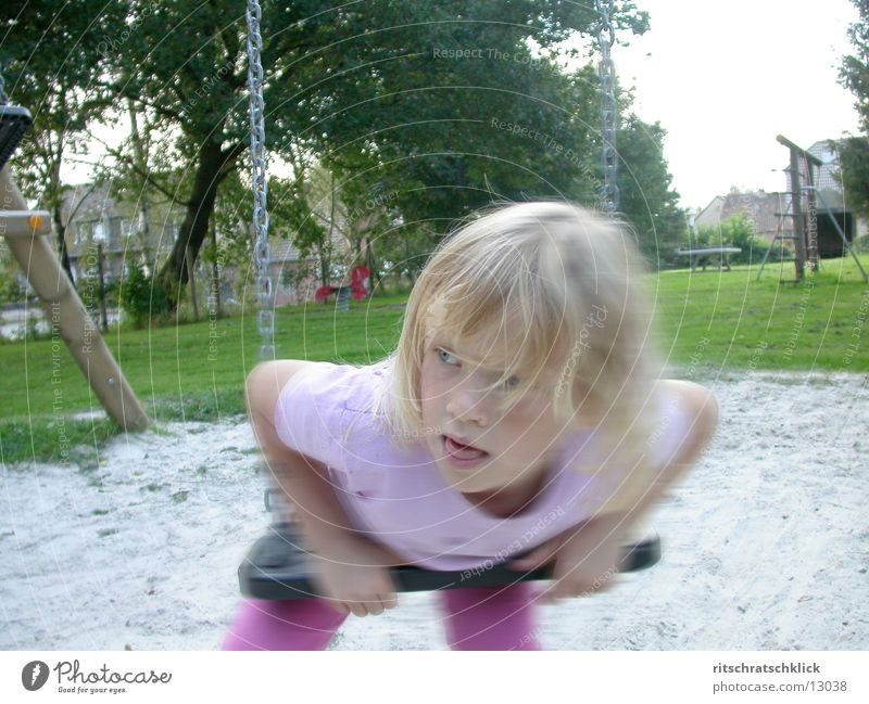 playground scene Child Swing Playground Human being