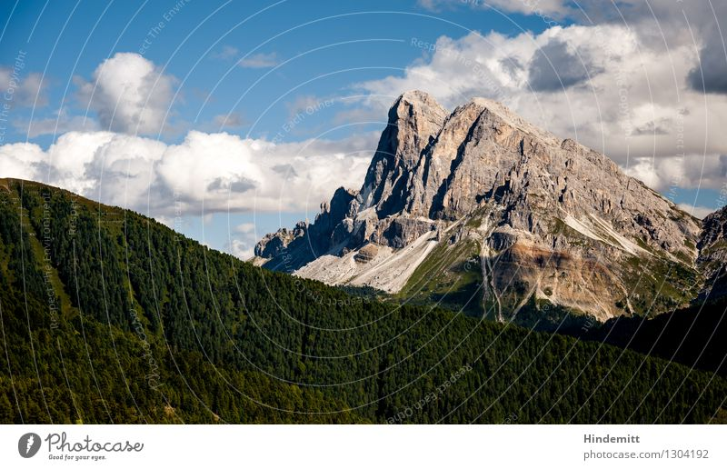 Peitlerkofel II Vacation & Travel Environment Nature Landscape Sky Clouds Summer Beautiful weather Forest Hill Rock Alps Mountain Peak Exceptional Free Tall