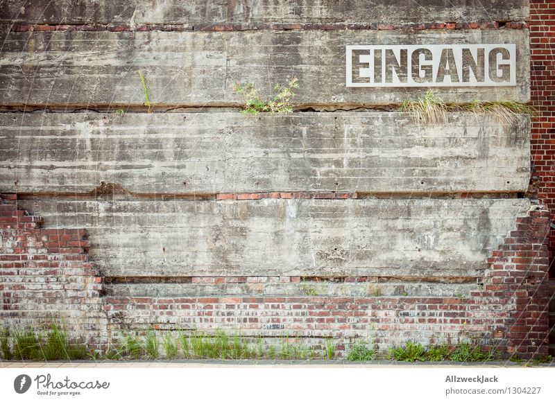 Old Green Red Gray Design Signs and labeling Characters Esthetic Beginning Communicate Concrete Retro Brick Entrance Road marking Brick wall