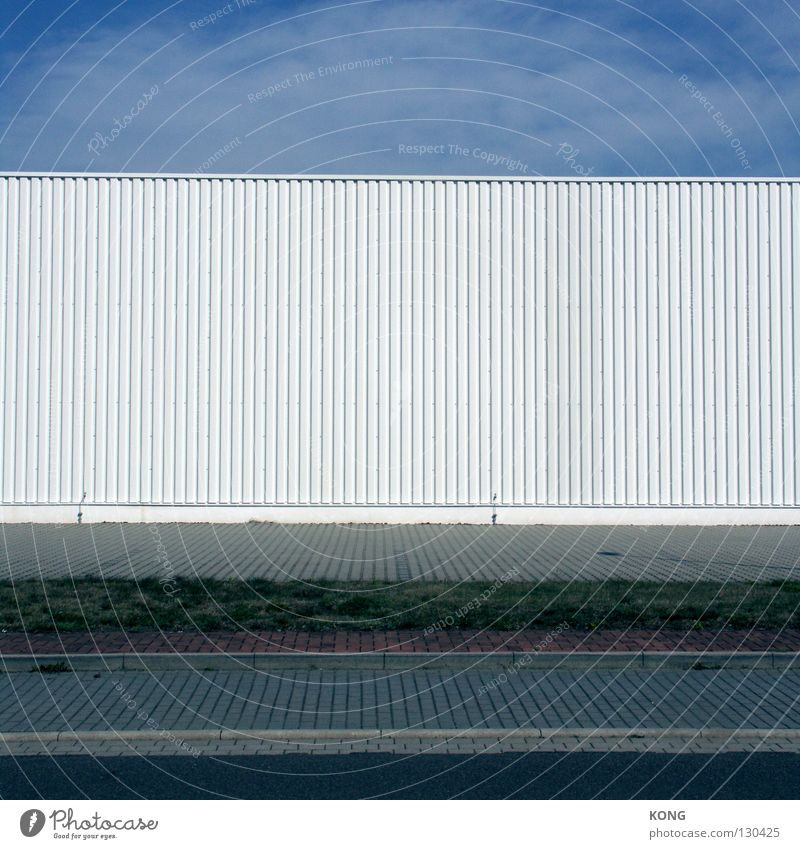 Faceless Decent Corrugated sheet iron Facade White Building Furniture store Home improvement store Commerce Industrial zone Sidewalk Undulating Arrangement
