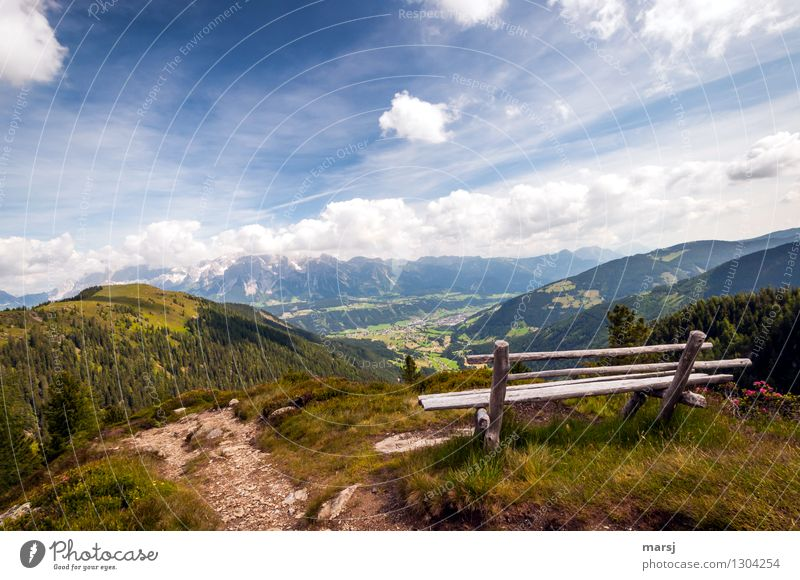 Not perfect, but perfect view Well-being Contentment Relaxation Calm Meditation Vacation & Travel Tourism Trip Far-off places Mountain Hiking Sky Clouds Summer