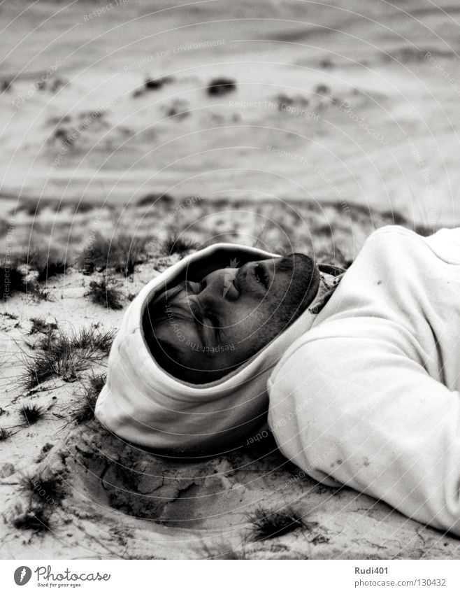 Man White Black Cold Head Sadness Sand Landscape Earth Sleep Break Lie Desert Facial hair Sweater Breathe