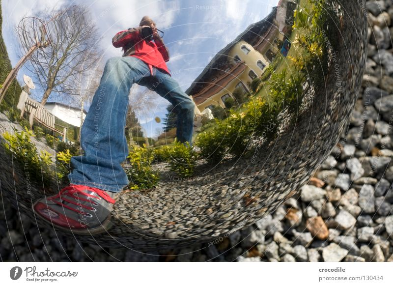 Human being Man Sky Tree House (Residential Structure) Clouds Garden Footwear Jeans Bench Decoration Sphere Jacket Chucks Photographer Column