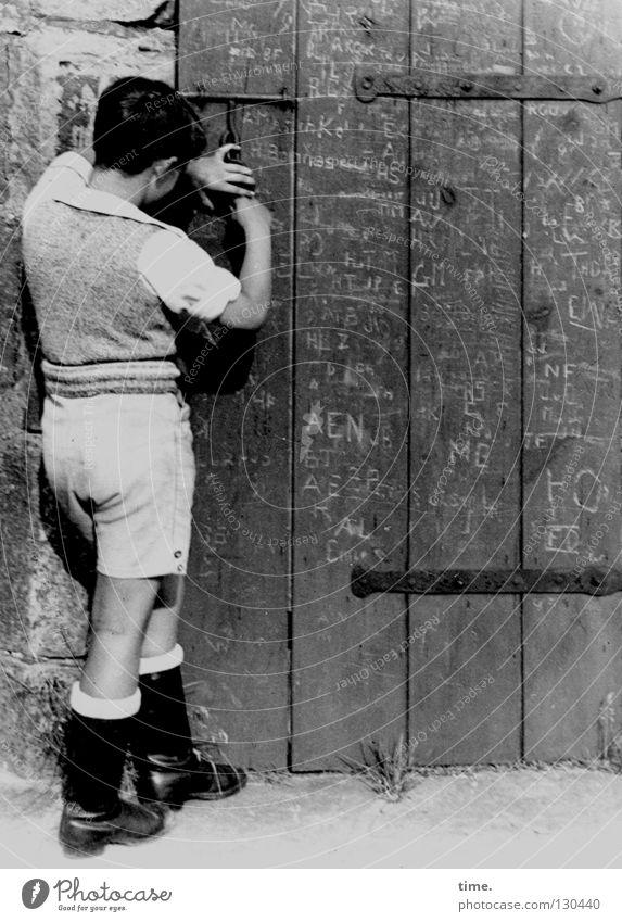 Old Information Historic Boredom Iron Shorts Knives Door Old fashioned Padlock Locking bar Scribbles Hinge Carve Wooden door
