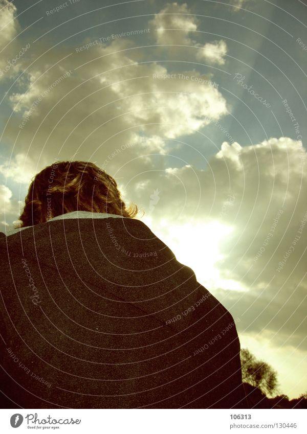 Man Nature Sky Sun Summer Clouds Fear Masculine Back Posture Guy Panic
