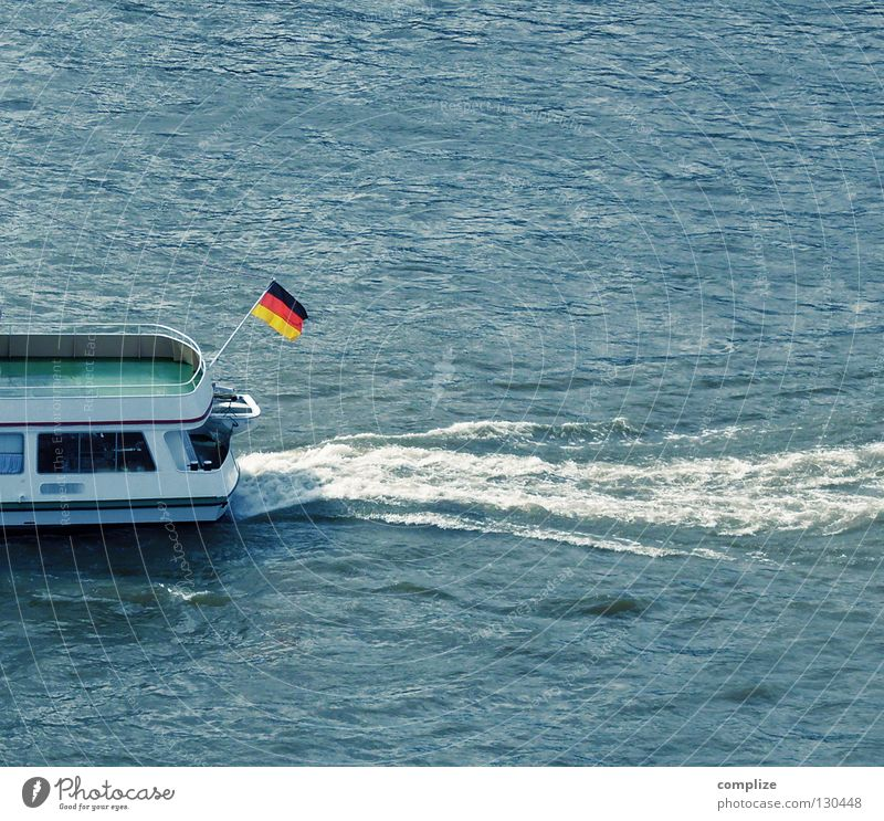 bye bye Watercraft Flag Waves Foam Germany Black Red Current Ocean Body of water Inland navigation Nationalities and ethnicity Swell Excursion boat Identity