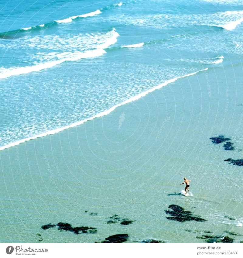 Sky Blue Water Green Vacation & Travel Summer Beach Far-off places Playing Sand Small Waves Damp North Sea Surfer Mud flats